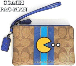 COACH PACMAN Wristlet Wallet Bag Limited Edition Brown Blue Yellow NWT - $116.74 CAD