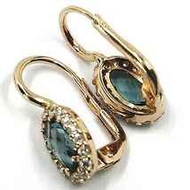 18K ROSE GOLD LEVERBACK FLOWER EARRINGS, OVAL BLUE CRYSTAL, CUBIC ZIRCONIA FRAME image 3