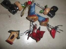 7 Dangling bells,boots,bird,heart,birdhouse Christmas Ornament  unique c... - $6.78