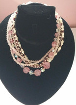 Vintage 6 Multi-Strand  Beaded Necklaces Baby Pink crystals - $19.00