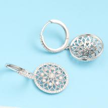 Luxury Diamond Drop Earrings 18k White Gold Female Lace Flower Design image 4