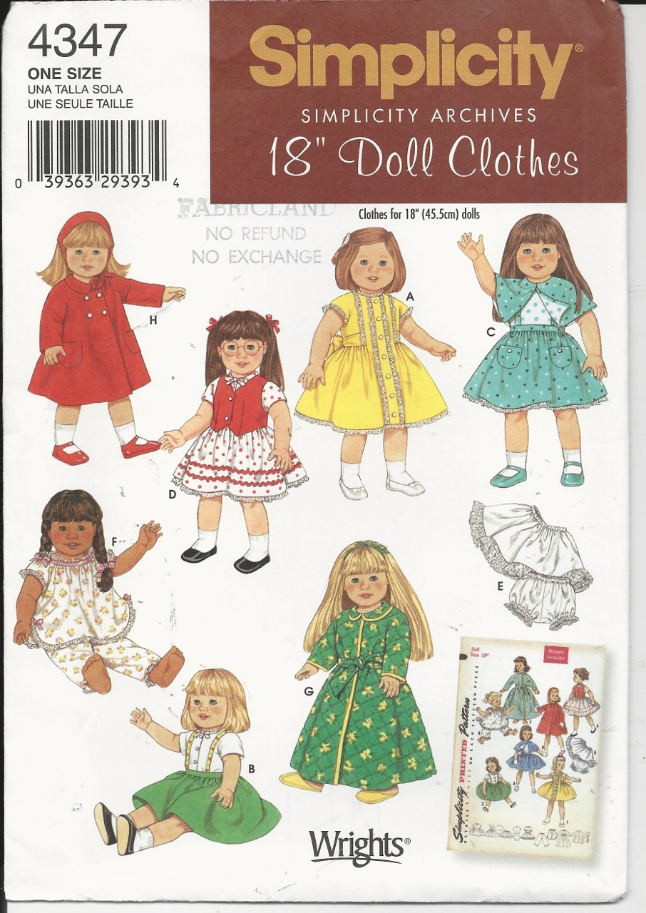 Simplicity 4347   18 inch doll clothes   archives pattern
