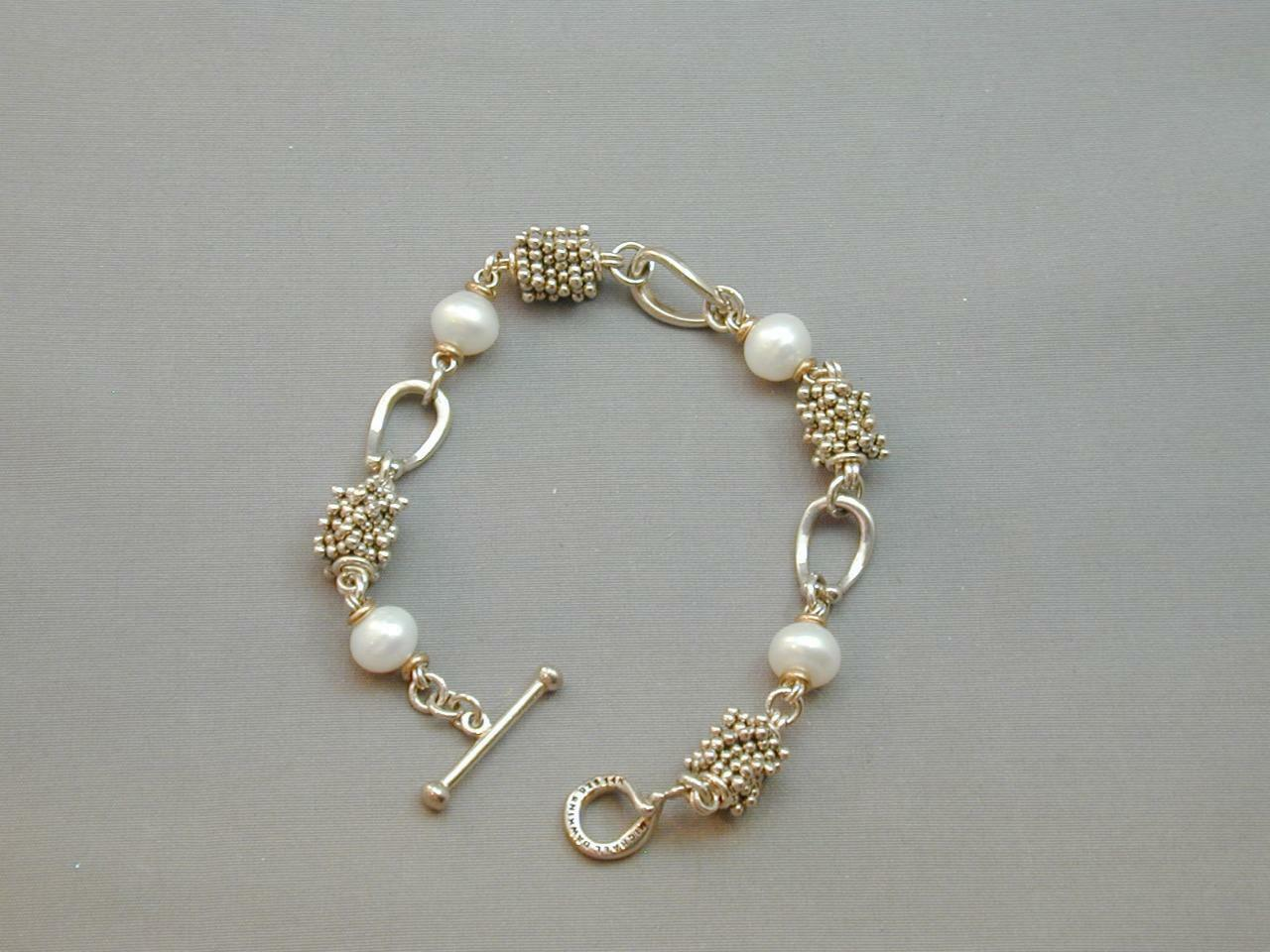 Primary image for Michael Dawkins 14k & Sterling FW Pearl & Granulation Bead Bracelet 7.5""