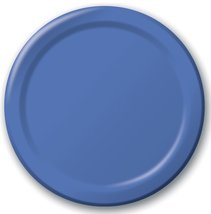 "24 Plates 10"" Paper Dinner Lunch Plates Wax Coated - Royal Blue - $8.66"