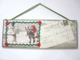 CHRISTMAS DESIGN BY KATHY SNOWMAN CHILDRED POSTCARD WALL SIGN DECOR 20.5... - $29.99