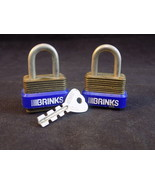 Set of 2 TINY BRINKS PADLOCKS with Key 25MN 1 1/2 inch Tall steel Pad Locks - $9.89