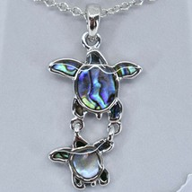 A.T. Storrs Wild Pearle Abalone Shell Sea Turtles Pendant & Silver Tone Necklace image 2