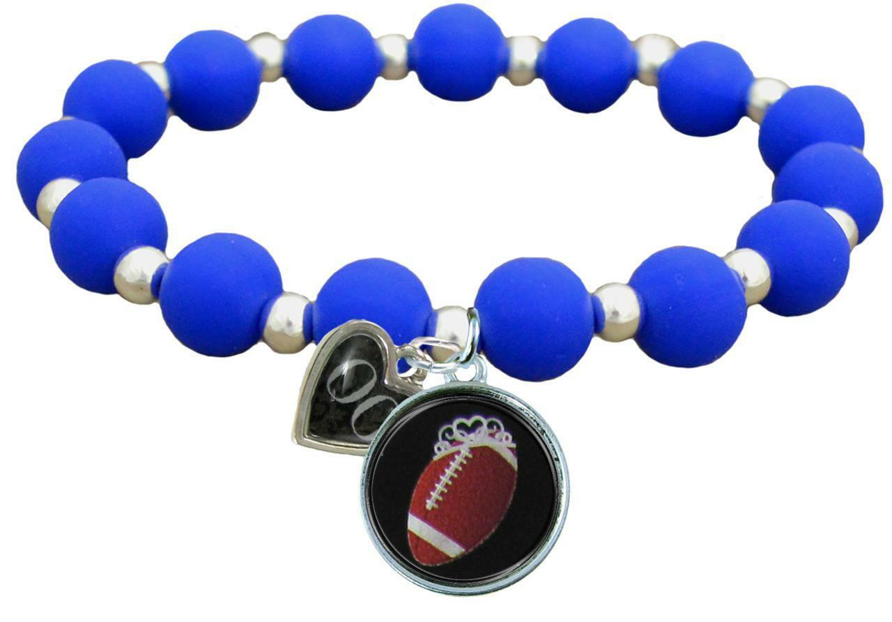 Primary image for Custom Football Princess Silicone Stretch Bracelet Choose Number Team Color 0-25