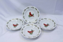 "Gibson Cardinal Winter Bird Xmas Rim Soup Bowls 8.25"" Lot of 4 - $58.79"
