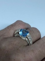 Vintage Blue Topaz Ring 925 Sterling Silver Size 7.5 - $153.45