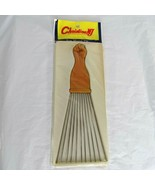 Vintage Eden Fan Metal Pic Afro Rake Fist Comb Made in Korea NEW - SEE C... - $14.84