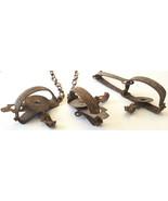 3 Antique Victor Animal Traps-Steel w Chain - $158.94
