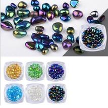 Gam-Belle® 1 Box Beads Rainbow Nail Art Rhinestone Small Holographic Cha... - $2.30