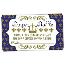50 Royal Prince Diaper Raffle Tickets | Boy Baby Shower Game - $13.18
