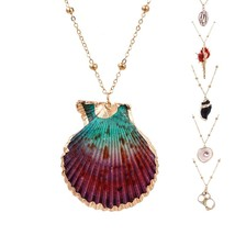 Boho Summer Beach Style Necklace Gold Chain With Natural Shell Pendant Jewelry C - $9.64