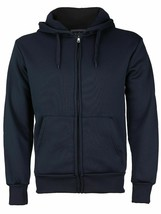 Men's Cotton Blend Zip Up Drawstring Fleece Lined Sport Navy Sweater Hoodie -  L
