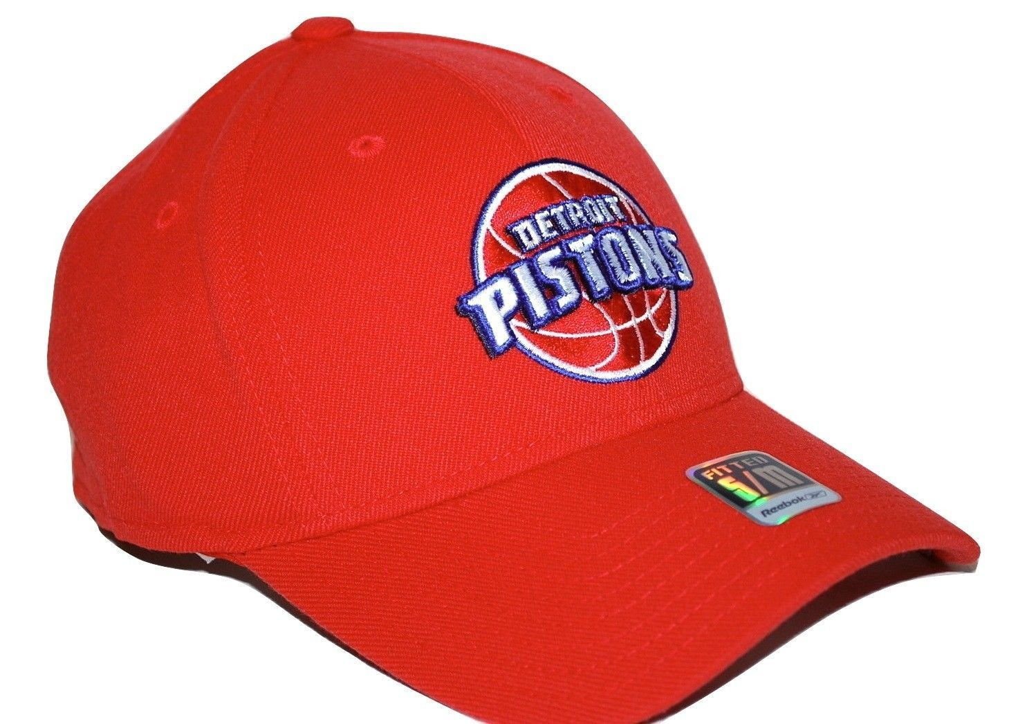 Detroit Pistons Reebok NBA Basketball Team Logo Stretch Fit Cap Hat SM MD 145162ce8845