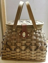 Vintage Natural Reed Rattan Lined Basket with Handles Picnic Storage Por... - $39.99