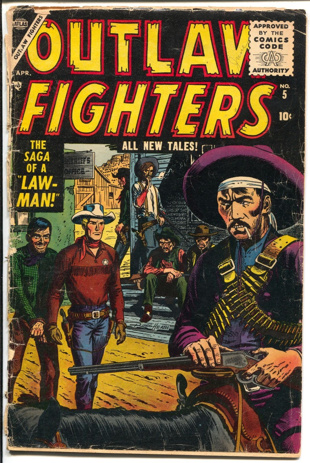 Outlaw Fighters #5 1955-Atlas-Russ Heath-P/FR