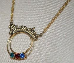 Vintage Grandma Multi-Color Rhinestone Pendant Necklace - $19.80