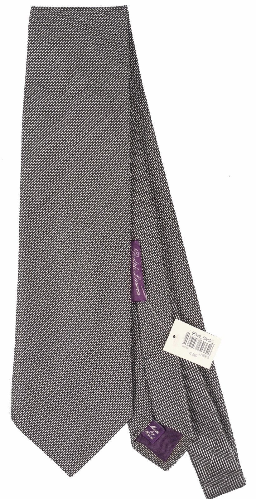NEW! Ralph Lauren Purple Label Silk Tie!  *Made in Italy*  *Black and Silver*