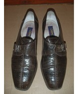 Mens Size 11 M Fratelli Brown Silver Buckle Loafer Dress Shoes Lizard  - $92.57