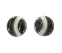 Vintage Round Carved Marbled Black & Pearlized Plastic Earring Clips - $8.00