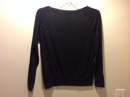 Black Long Sleeve Stretchy Blouse w Wide Neckline and Silver Sparkles Sz S image 2