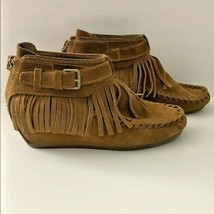 Ash Spot Leather Moccasin Boots 40 7.5 Brown Urban Outfitters Ankle Boot... - $93.23