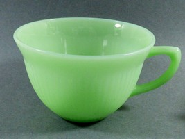 Oven Ware Fire King Jadeite Jane Ray tea cup green ribbed dinnerware USA - $44.55