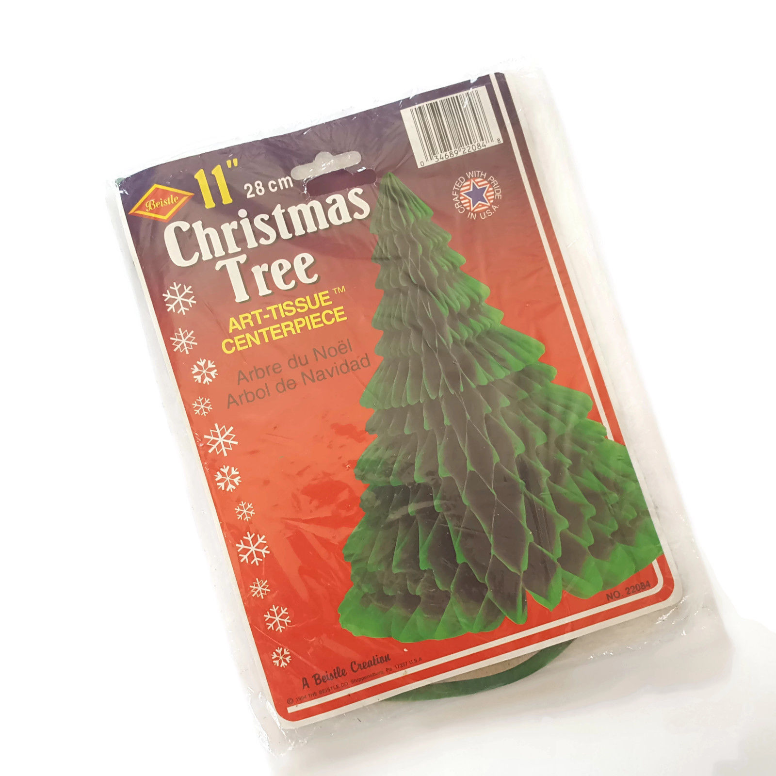 """Beistle Christmas Tree Tissue Honeycomb New in Package 11""""  Vintage 1994"""