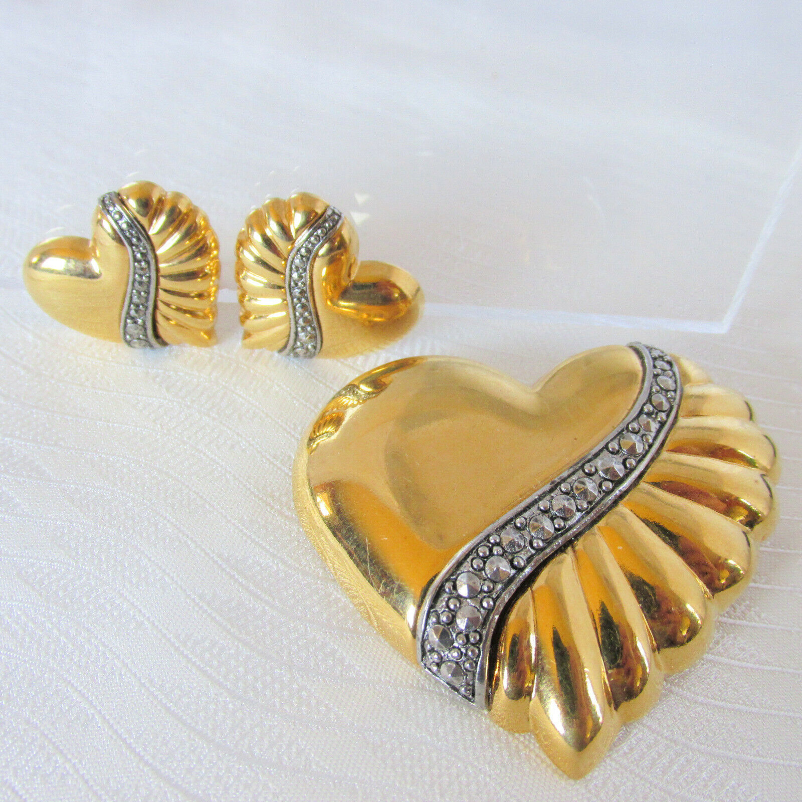 1980s Vintage Marcasite Puffy Hearts Brooch Pin Earring Set Heavy Gold Plate