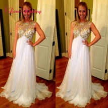 New A-Line Evening Dresses Formal White Chiffon Crystal Prom Party Brida... - $108.10