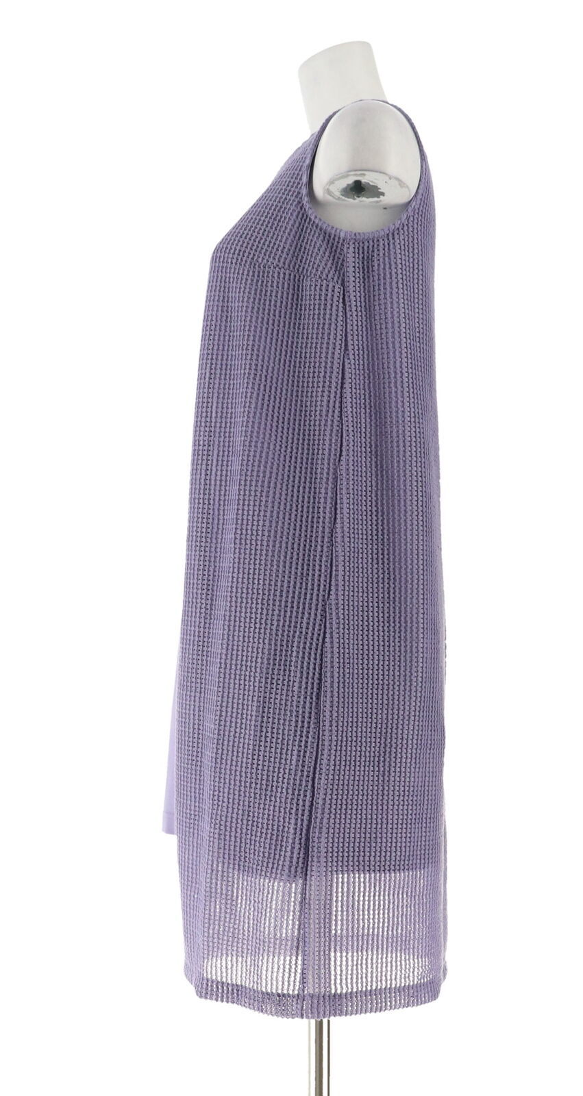Halston Petite Slvless Knit Midi Dress Knit Overlay Violet Blush 4P NEW A288612
