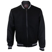 Maximos USA Men's Lightweight Mesh Zip Up Bomber Jacket (XL, Black / White)
