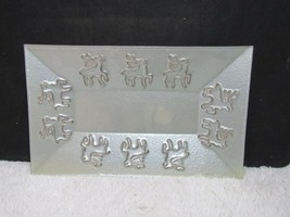 Decorative Reindeer Embossed Glass Platter, Christmas Serving Piece - $25.75