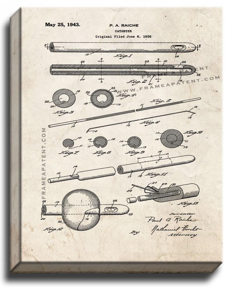Primary image for Catheter Patent Print Old Look on Canvas