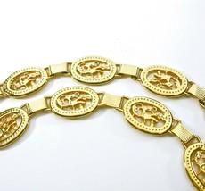 Chain Link Belt, Signed Spain, Gold Tone Metal, Large Links, Hook Clasp,... - $24.00