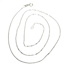 18K WHITE GOLD CHAIN NECKLACE 0.5 mm MINI VENETIAN LINK 24 INCHES MADE IN ITALY image 1