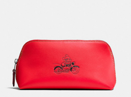 NWT $95 Disney X Coach Red Mickey Cosmetic Case 17 Leather F59820 - $58.19