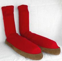 L.L. Bean Mens Large 10.5-11.5 Slipper Socks Red Tan  - $42.54 CAD