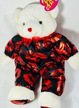 "Sugar Loaf Plush Kiss Me Bear Stuffed Red Valentines Hearts 17"" W/ Tags - $19.23"