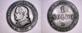 1867-XXIR Italian States Papal States 1 Soldo World Coin - Pius IX - Sma... - $24.99