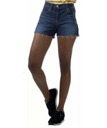 Levis High Rise Jean Raw Hem Dark Wash Denim Shorts Size 8 W29 NWT - $22.80