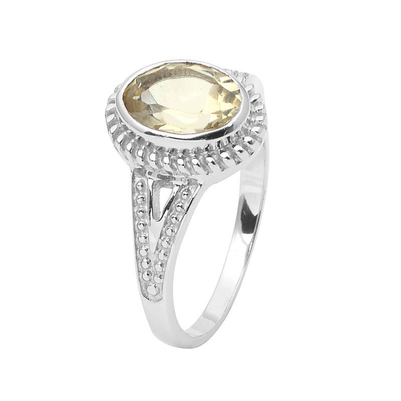 Classic 1.70 Carat Lemon Gemstone 925 Sterling Silver Women Ring Sz 7 SHRI0837