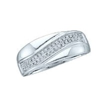 10kt White Gold Womens Round Diamond Contour Row Band Ring 1/6 Cttw - £140.35 GBP