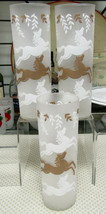 """Libbey Cavalcade White And Gold Frosted Horses 7"""" Cooler Tom Collins Set... - $5.89"""