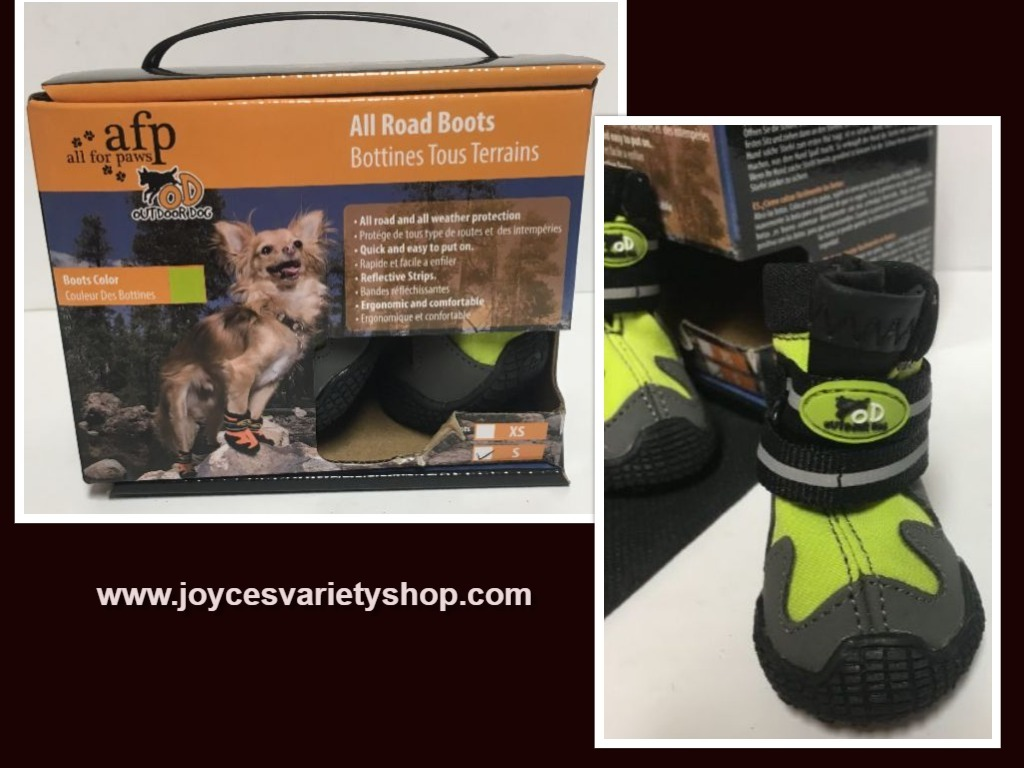 """Pet All Road Boots Sz Small (2"""") Neon Green & Gray 4 In Set"""