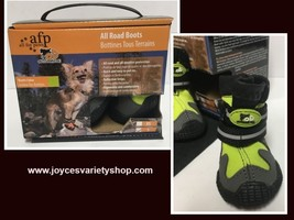 """Pet All Road Boots Sz Small (2"""") Neon Green & Gray 4 In Set  image 1"""