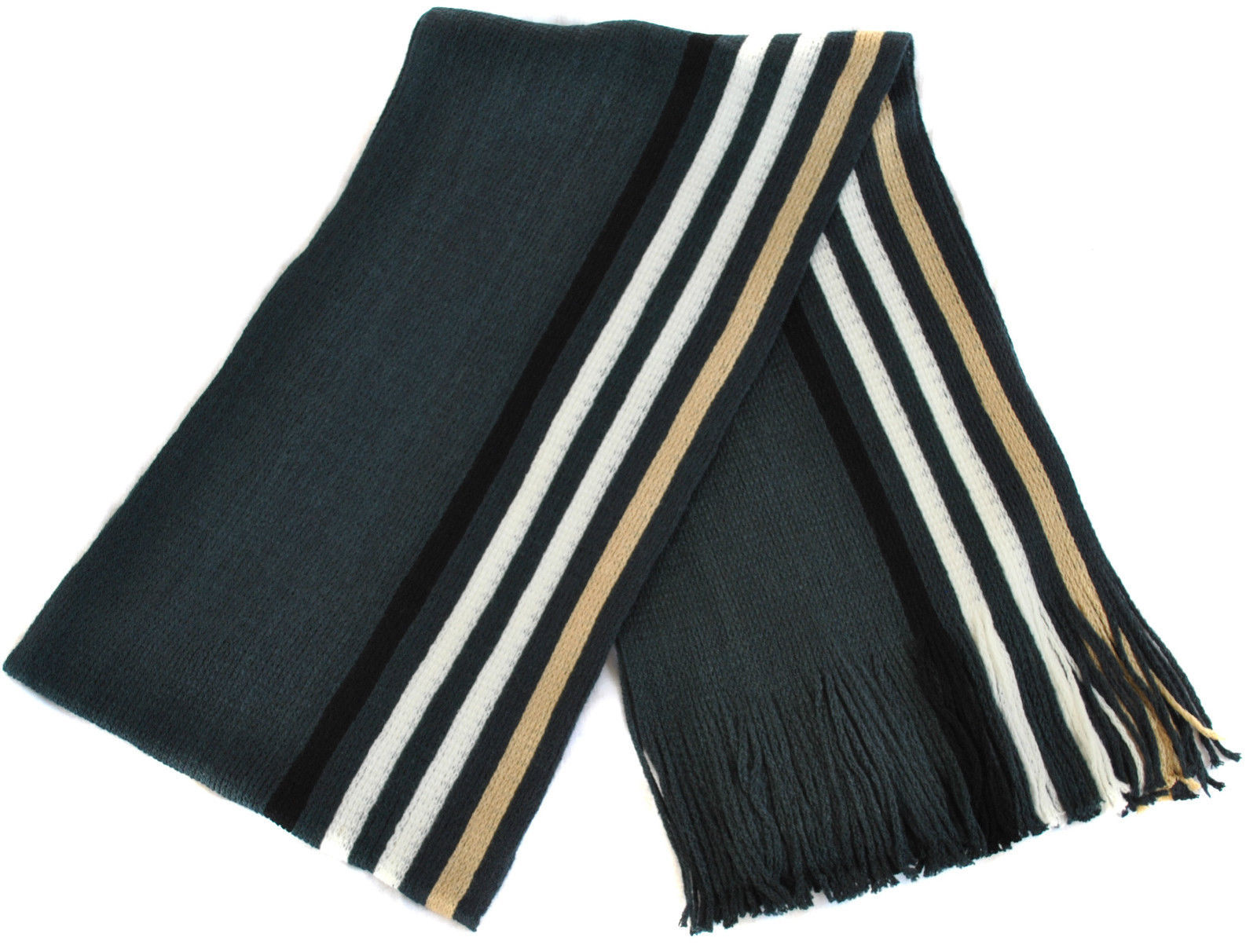 Frederick Thomas Mens Charcoal Grey White & Cream Striped Wool Type Scarf FT857